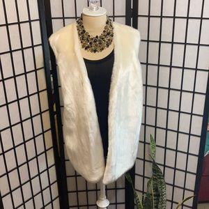 Armani Exchange-Cream faux fur vest.